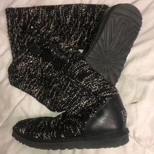 UGG Knit Tall fold over Boots with Sequins